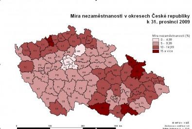Mapa nezaměstnanosti Zdroj: mpsv.cz
