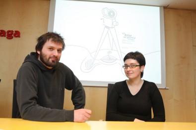 Autor grafiky letošního ročníku, Bohdan (Kofila) Heblík s Gabrielou Gańczarczyk Zdroj: kinonahranici.cz