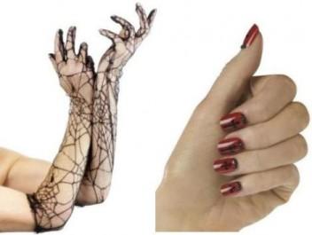 FOTO: Krajkové rukavice pavučina a design nehtů