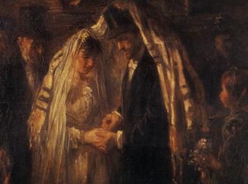 Židovská svatba na obraze Jozefa Israëlse (1903)