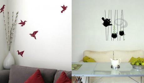 Наклейки для интерьера - Забавные - Птички Оригами.