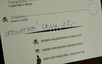 FOTO: Nápojový lístek ze křtu Pravých českých míchaček