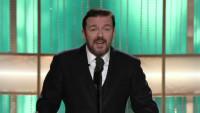 FOTO: Ricky Gervais pri moderovani Zlatych globu 2011