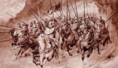 FOTO: Ilustrace Věnceslava Černého ke Starým pověstem českým Aloise Jiráska - svatý Václav v čele blanických rytířů