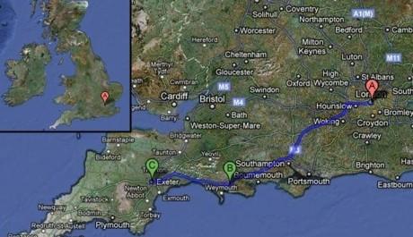 FOTO: trasa římské cesty, Velká Británie, Zdroj: Googlemaps.com