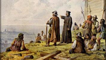 OBR: Jan Žižka s knězem Václavem Korandou roku 1420 hledí s Vítkova na Prahu