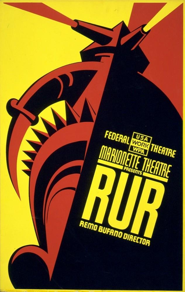 plakát R.U.R. z USA z roku 1939