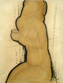 FOTO: Akt vystavovaný na výstavě Amedeo Modigliani v Obecním domě v Praze