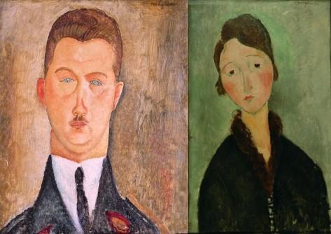 FOTO: Portréty Dr. Brabandera a mladé ženy Anny vystavované na výstavě Amedeo Modigliani v Obecním domě v Praze