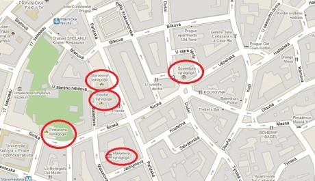 FOTO: Mapa s vyznačenými synagogami