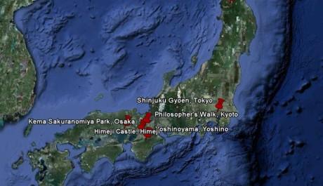 FOTO: Mapa nejpopulárnějších míst oslav Hanami