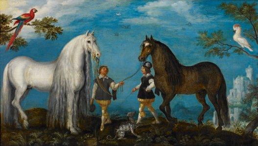 Obr: Roeland Saveray: Dva koně s podkoními