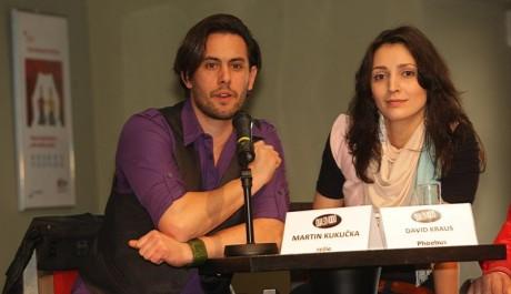 FOTO: Martin Kukučka s Janou Burkiewiczovou na tiskové konferenci k připravovanému muzikálu Quasimodo Divadla Hybernia