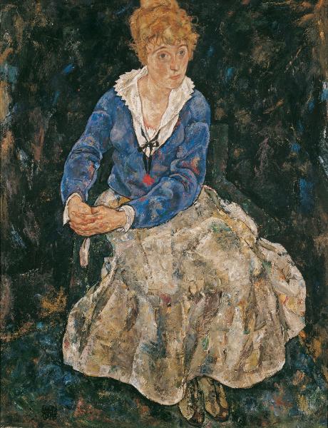 FOTO: Egon Schiele Die Frau des Künstlers, sitzend (Edith Schiele), 1918, zdroj: Belvedere, Wien
