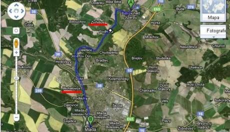 FOTO: trasa výletu z Bakova nad Jizerou do Mladé Boleslavi