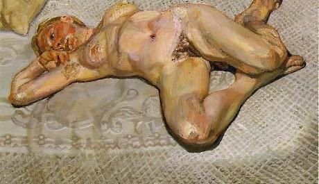 FOTO: Lucian Freud, Blonďatá dívka na posteli, 1987