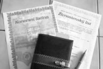 FOTO: Živnostenský list a koncesní listinou