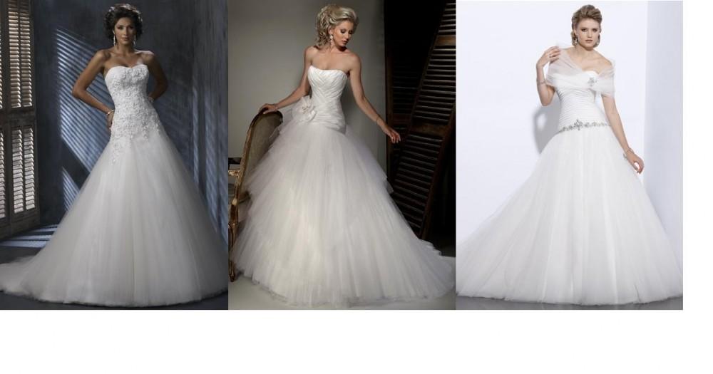 FOTO: bílé svatební šaty s tylovou sukní