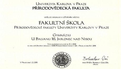 Certifikát fakultní školy Přírodovědecké fakulty Univerzity Karlovy