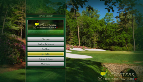 menu hry Tiger Woods PGA Tour 12: The Masters