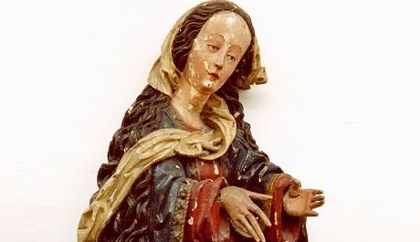 OBR: Mistr Kefermarktského oltáře, Sedící P. Marie, 1475-80, stav před restaurováním.