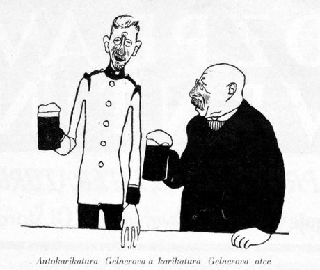 OBR: František Gellner se svým otcem, vlastní karikatura