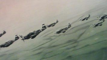 foto: Obraz Gerharda Richtera, letka mustangů v boji