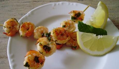 Recept na grilované krevety v mátovo-limetkové marinádě
