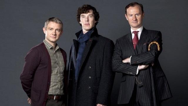 FOTO: Martin Freeman, Benedict Cumberbatch a Mark Gattis